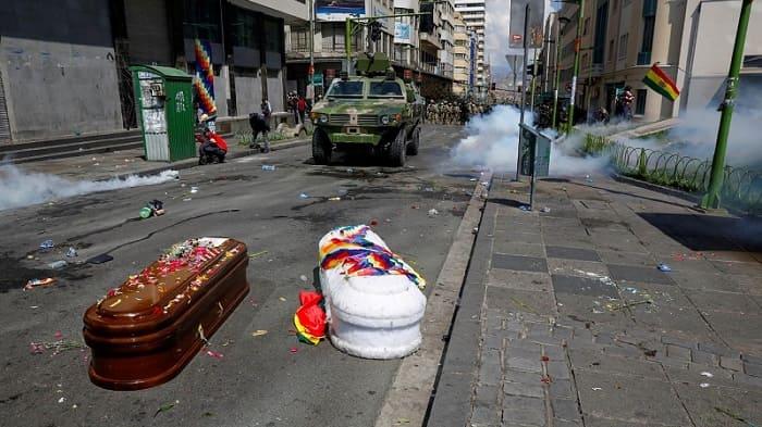 Marcha con féretros gasificada Bolivia 2019