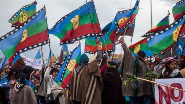 Mapuches protesta, Chile