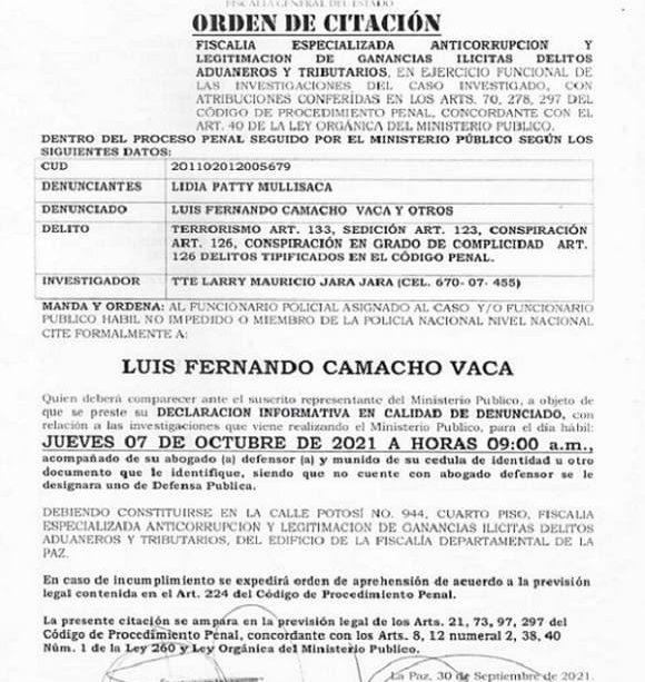 Citación fiscal a Fernando Camacho